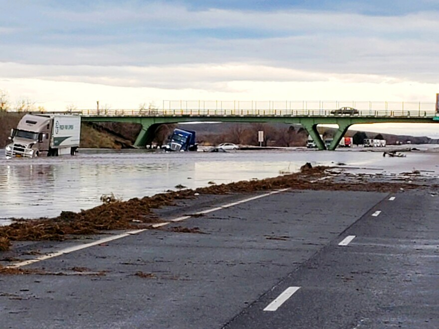 This photo provided by the Oregon State Police shows severe flooding on Interstate 84, a major freeway linking Idaho and Oregon, near Hermiston, Ore., on Feb. 7, 2020.