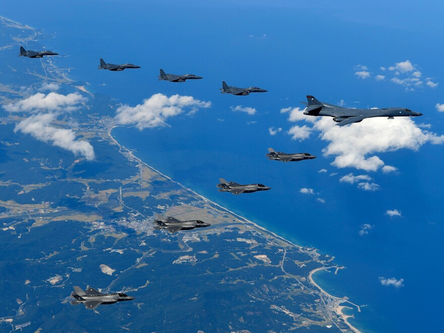 """A U.S. Air Force B-1B """"Lancer"""" bomber flying with F-35B fighter jets and South Korean Air Force F-15K fighter jets during a training at the Pilsung Firing Range in South Korea in September."""