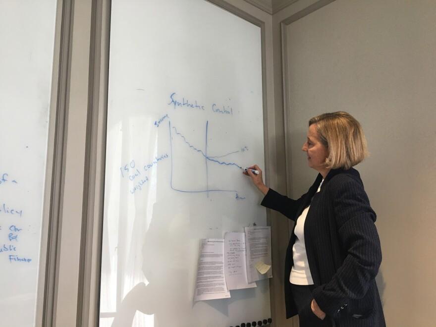 Natalie Gouchner draws a graph on a whiteboard.