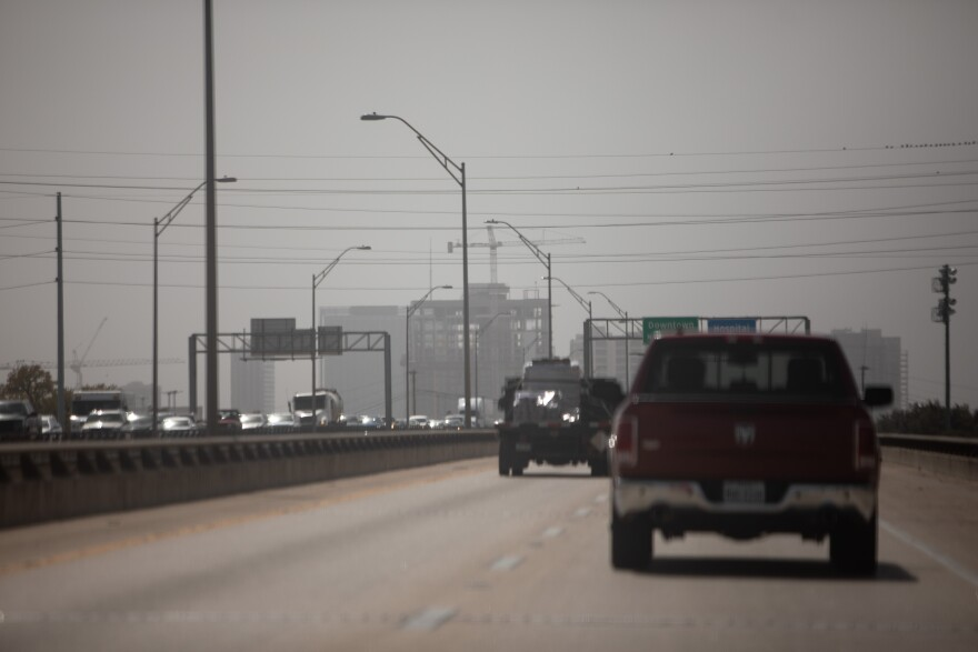 Cars drive down I-35 on a hazy day Oct. 13.