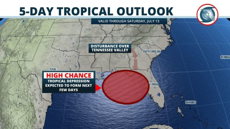 Forecasters at the Weather Prediction Center have outlined much of west-central Florida in a region likely to receive more than four inches of rain through Friday. Locally higher amounts, possibly up to 7 inches, are possible immediately along the coast f