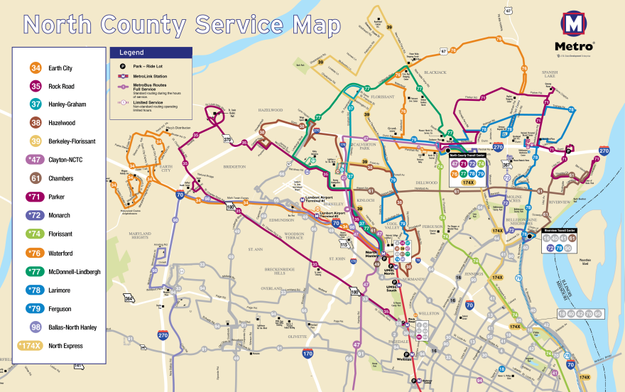 Map of Metro's reconfigured bus service in north. St. Louis County