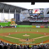 First pitch at Marlins Park, home of the Miami Marlins, in 2012.