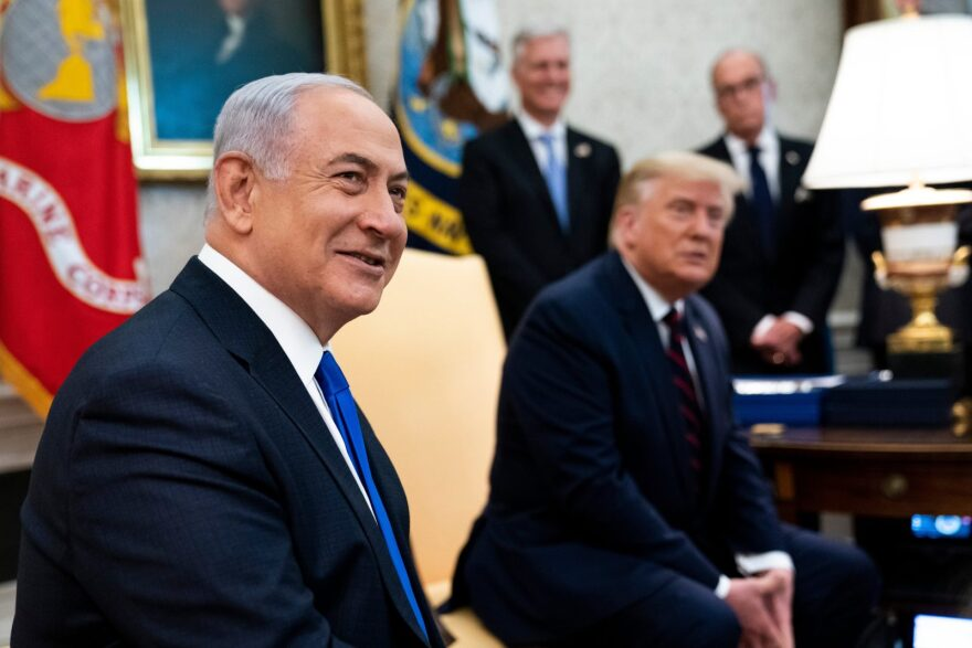 U.S. President Donald Trump and Prime Minister of Israel Benjamin Netanyahu participate in a meeting in the Oval Office of the White House in Washington, DC.