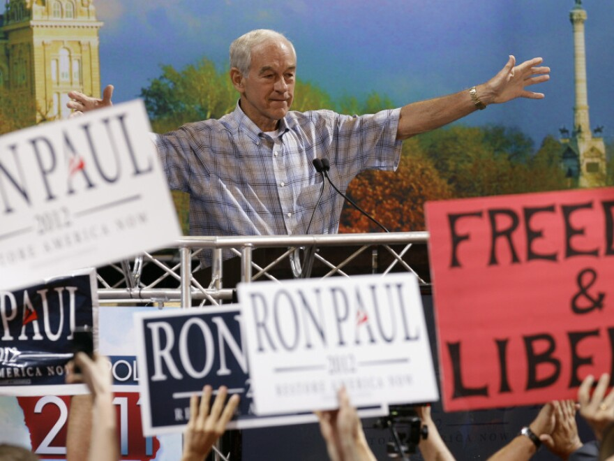Rep. Ron Paul (R-TX) speaks during the Iowa Republican Party's straw poll on Aug. 13, in Ames, Iowa.