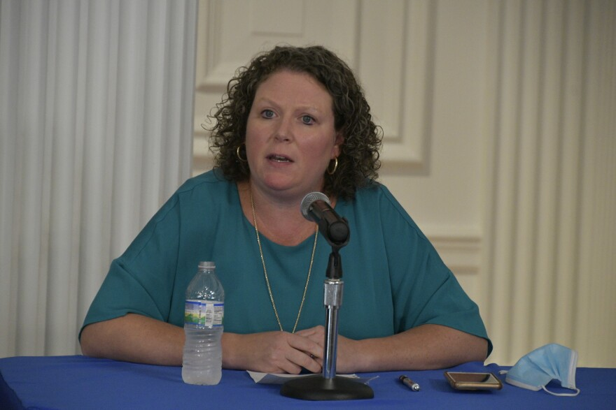 Sarah Armstrong Tucker, chancellor of both the West Virginia Higher Education Policy Commission and the West Virginia Community and Technical College System of West Virginia, speaks at a virtual press briefing with Gov. Jim Justice on Sept. 30, 2020.