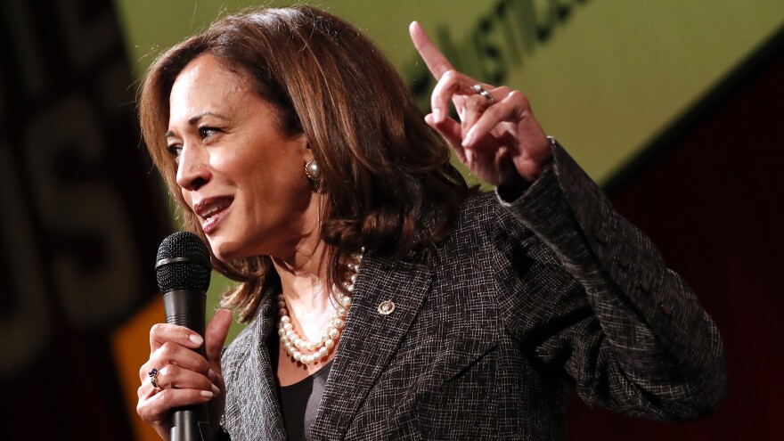 Sen. Kamala Harris, D-Calif., speaks at Vote For Justice: An Evening of Empowerment with activists and artists at the Newseum in Washington, D.C., in May 2018.