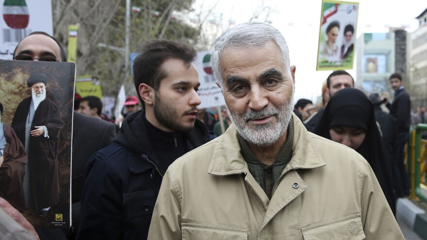 Qassem Soleimani, pictured at a 2016 rally commemorating the anniversary of the Islamic Revolution, commanded Iran's Quds Force and had wide influence in Iran's foreign policy.