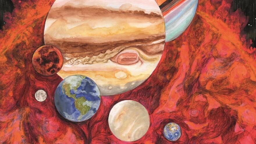 Part of the cover art for <em>Planetarium</em>, the concept album by Nico Muhly, Sufjan Stevens, James McAlister and Bryce Dessner.