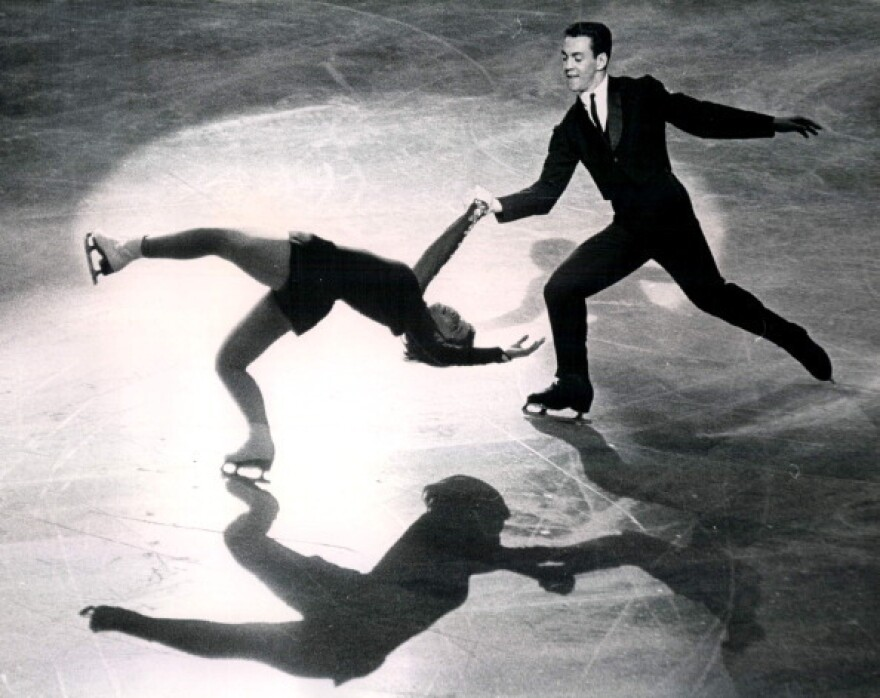 "American sibling skaters Ronald and Vivian Joseph perform the ""death spiral"" on Oct. 26, 1963, at the World Championships. The International Olympic Committee announced this week that the Josephs, who originally placed fourth in the 1964 Winter Games in Innsbruck, Austria, were in fact the bronze medalists."