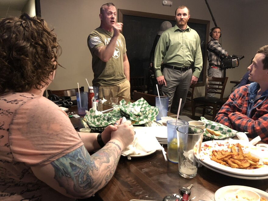 Richard Ojeda tells a group of veterans in Huntington, W. Va., that he's trying to bring military leadership into politics.