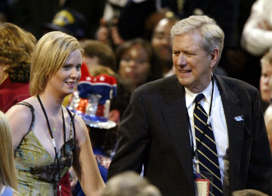 Actors Cynthia Nixon, left, and Michael Murphy attend the Democratic National Convention, July 2004, in Boston.