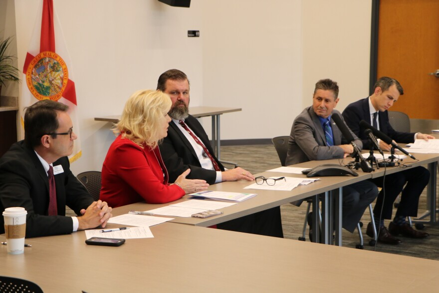 From left: Florida Health Care Association President Alex Terentev, Senior Director of Quality Affairs Deborah Franklin, Executive Director Emmett Reed, Chief Lobbyist Bob Asztalos and Director of Reimbursement Tom Parker discuss the group's legislative priorities for 2019 on March 4, 2019