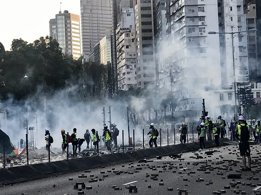 Police answered gasoline bombs hurled at them with rounds of tear gas.