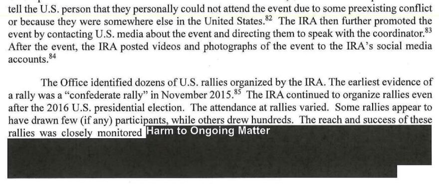 "An excerpt from the Mueller report describes ""dozens of rallies"" organized by the Russia-based Internet Research Agency."