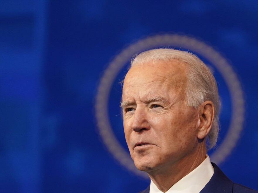 President-elect Joe Biden speaks during an event Wednesday in Wilmington, Del.