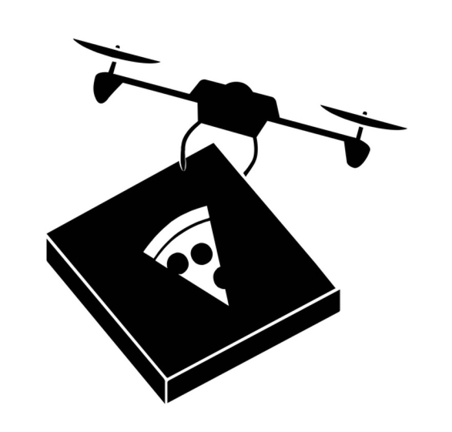 """This icon of a drone delivering pizza is part of a topic called """"There's a drone for that."""""""