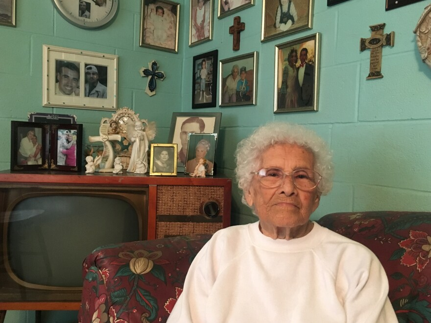 "Elvira Canales, 90, in her home in Salineño, Texas. She owns land along the Rio Grande and says she won't sell it or give permission for a wall to be built there, because ""its been in my family for generations."""