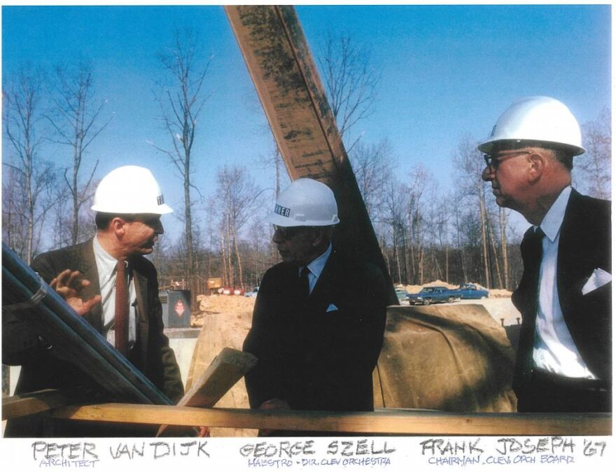 Peter van Dijk talks with Cleveland Orchestra Conductor George Szell (center) and Board Chairman Frank Joseph at the Blossom construction site in 1967.
