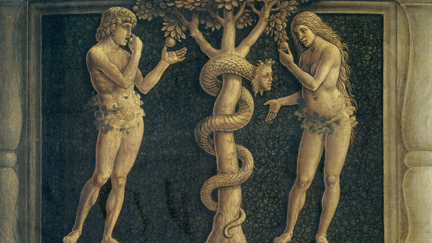 Andrea Mantegna's <em>Madonna della Vittoria,</em> housed in the Louvre in Paris, includes a depiction of Adam, Eve and those tempting apples.
