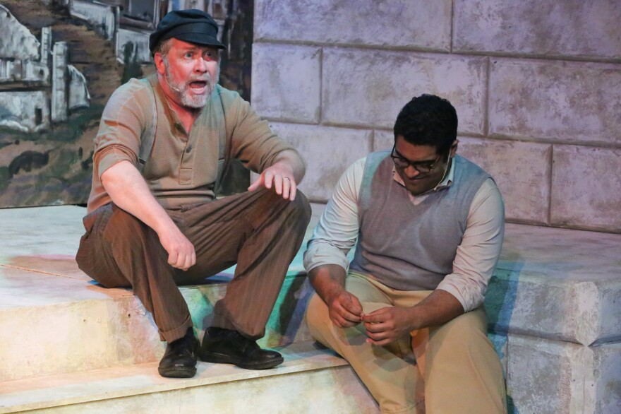 """Kent Coffel as Zorba and Dominic Dowdy-Windsor as Nikos in New Line Theatre's production of """"Zorba"""""""