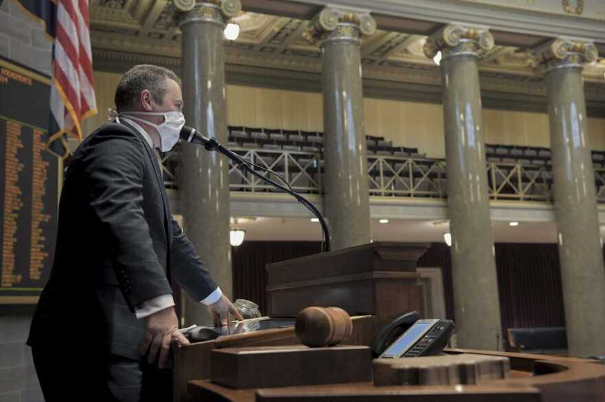 House Speaker Elijah Haahr, R-Springfield, called lawmakers into the chamber in groups of four to place their votes on the supplemental budget.