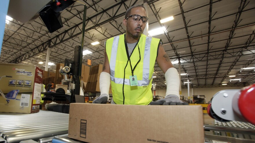 The court's ruling came Tuesday in a case involving Amazon warehouses and a temp agency, Integrity Staffing Solutions Inc. Hourly workers were required to wait in line for an average of 25 minutes after they clocked out.
