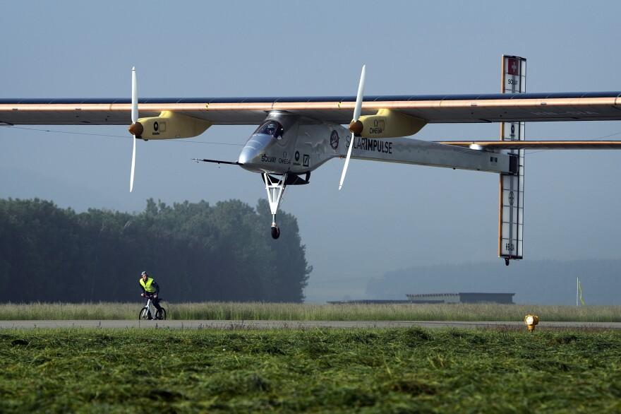 The Swiss sun-powered aircraft Solar Impulse takes off on Thursday.