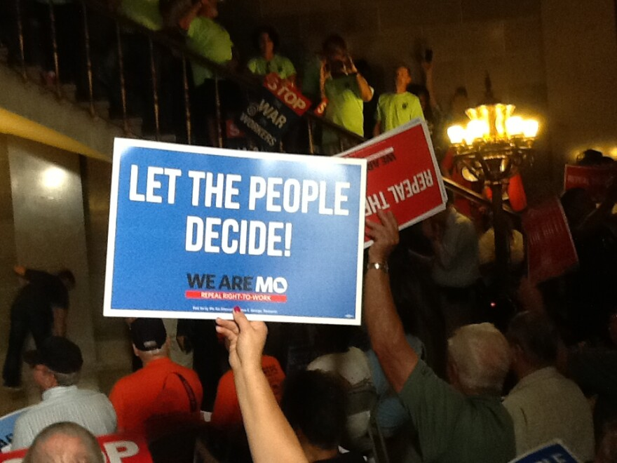 More than 1,000 union members gathered Friday, Aug. 18, 2017, in the Missouri Capitol.