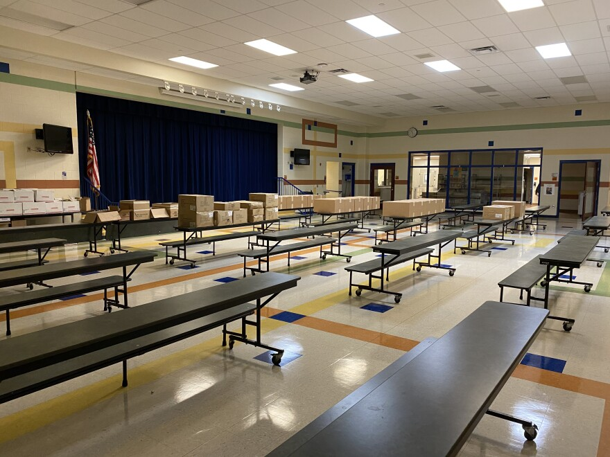 empty cafeteria at Findley Elementary