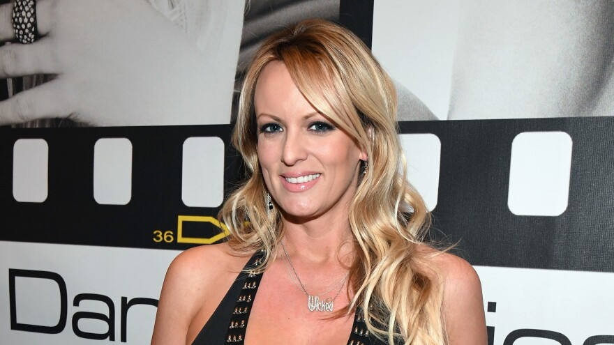 Stormy Daniels appears at the Wicked Pictures booth at the 2017 AVN Adult Entertainment Expo at the Hard Rock Hotel & Casino on January 18, 2017, in Las Vegas, Nev.