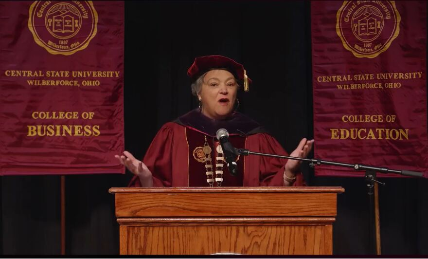 Dr. Cynthia Jackson-Hammond, president of Central State University, welcomed Central State's Class of 2020 to its online commencement.
