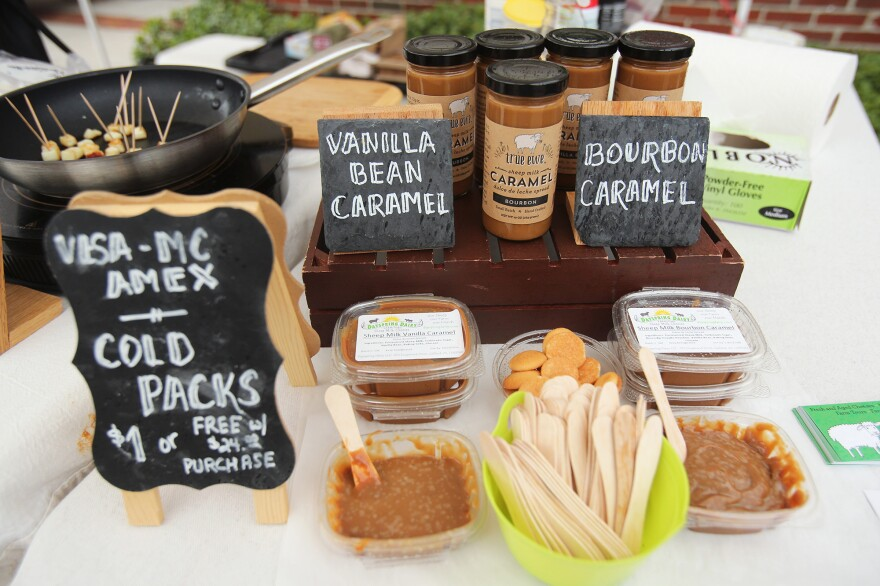In addition to eight varieties of cheese, the two varieties of caramel — all made from sheep's milk — have become popular selling products for Dayspring Dairy. Free samples go quickly.