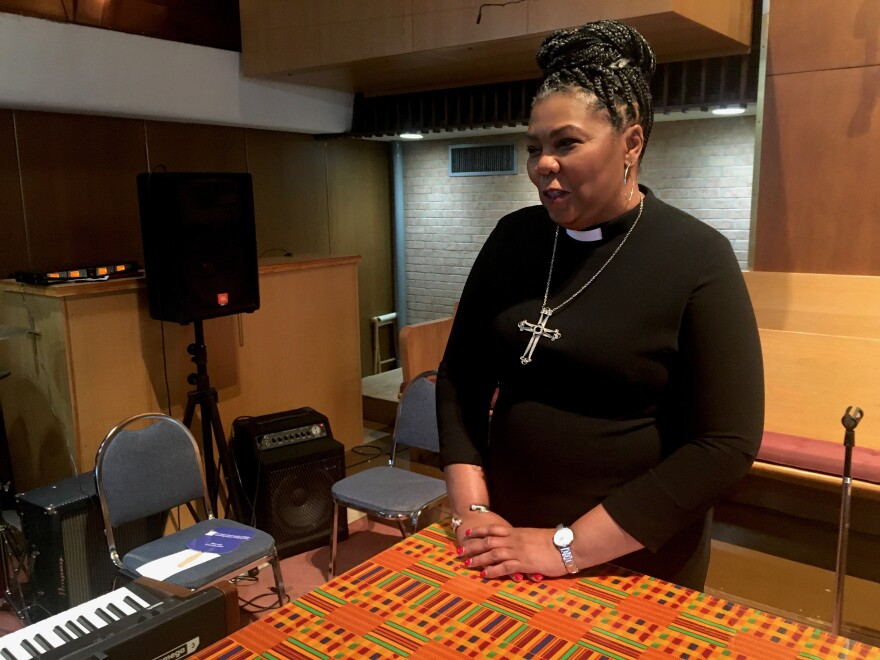 The Rev. Traci Blackmon of Christ The King United Church of Christ, at a press conference Saturday, Jan. 19.