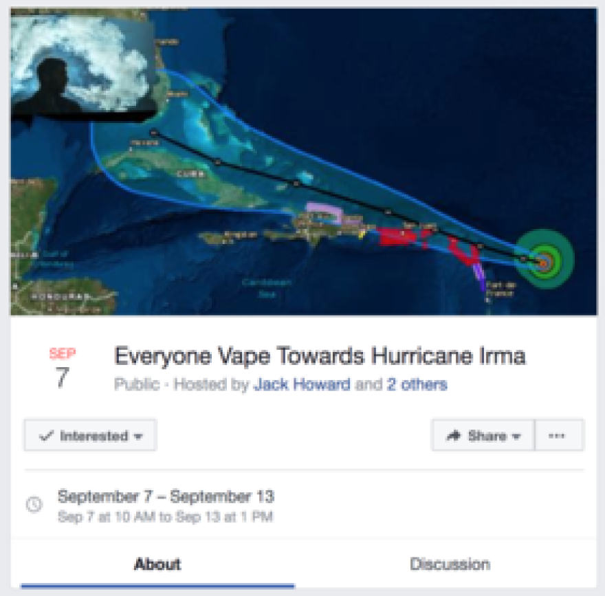 Screenshot from one of the Facebook event pages.