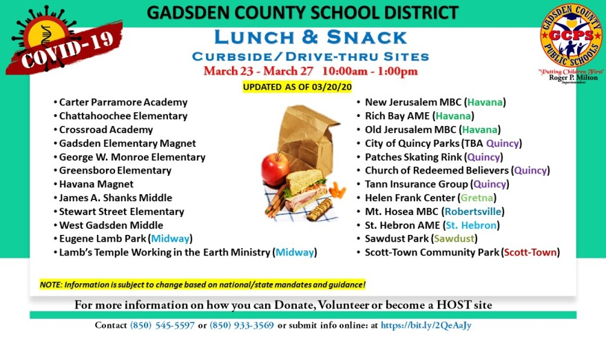 Gadsden County Schools Food distribution list