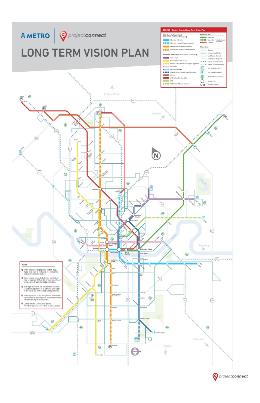 A map of Capital Metro's Project Connect, a long-term proposal for building out Austin's transit network.