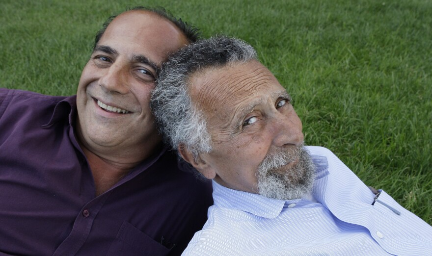 Ray and Tom (right) Magliozzi, co-hosts of NPR's <em>Car Talk</em> show, pose for a photo in Cambridge, Mass., in 2008. Tom died Monday of complications from Alzheimer's disease. He was 77.