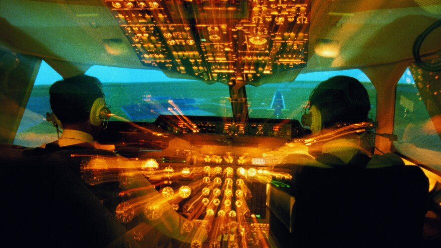 Flight crew in cockpit, rear view (zoom effect).