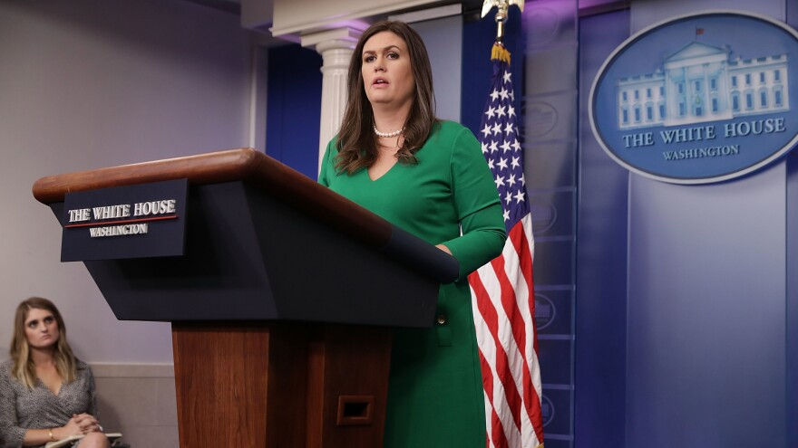 White House Press Secretary Sarah Huckabee Sanders conducts the daily press briefing at the White House on Monday in Washington, D.C.