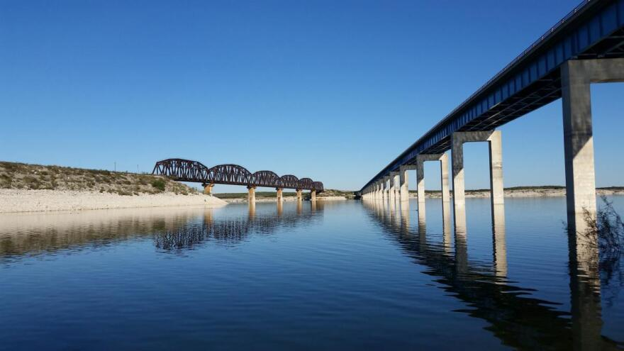 The Highway 90 bridges as seen from Governor's Landing in Amistad National Recreation Area.