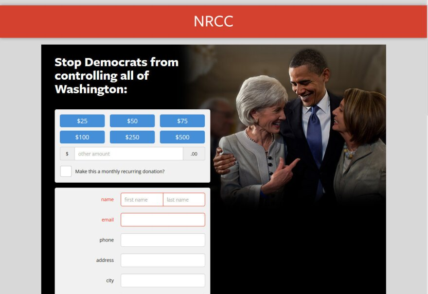 NRCC screen shot of a contribution screen that appears when someone tries to submit an email address and other personal information to become a Benghazi Watchdog.