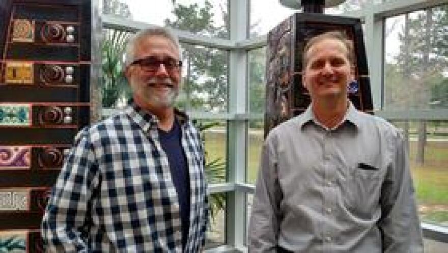 Brian LeBlanc and UWF biology professor Dr. Rodney Guttmann during a previous visit to WUWF.