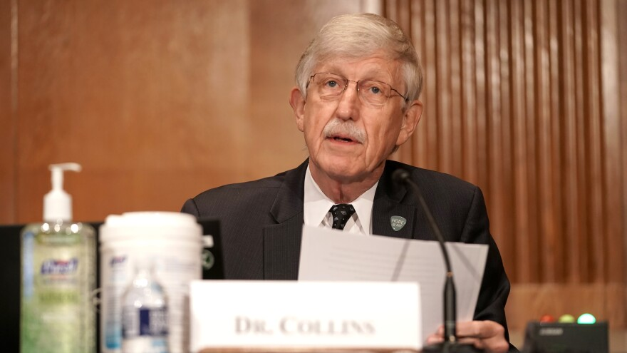 Dr. Francis Collins, director of the National Institutes of Health, is pictured on Sept. 9 on Capitol Hill. Collins says a vaccine would not be approved for emergency use before late November at the earliest.