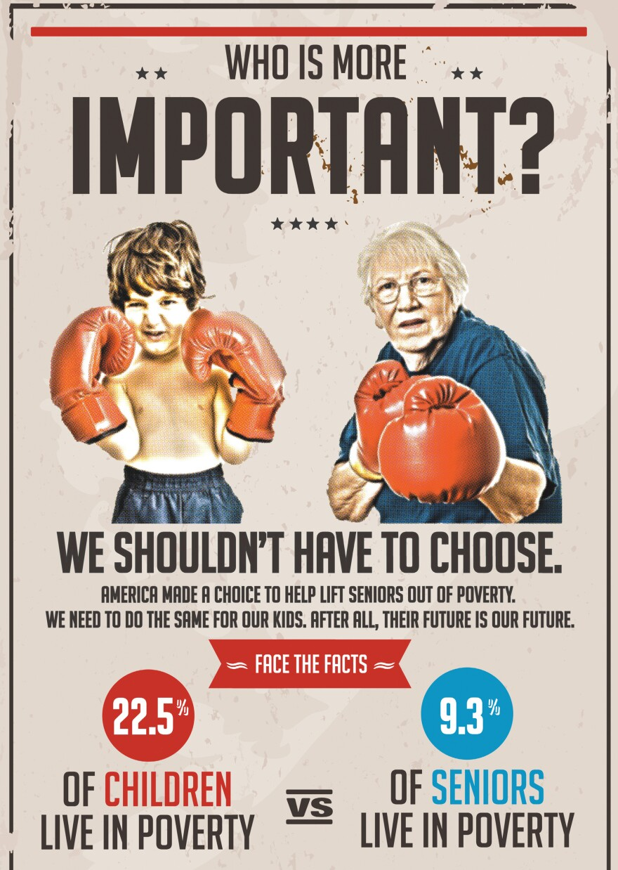 "The nonprofit group Next Generation took out this full-page ad in <em>The Washington Post</em> on Sunday, arguing that ""America made a choice to help lift seniors out of poverty. We need to do the same for our kids."""