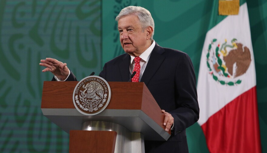 Mexican President Andrés Manuel López Obrador, pictured during a daily press conference at National Palace in Mexico City last week, says he's tested positive for the coronavirus.