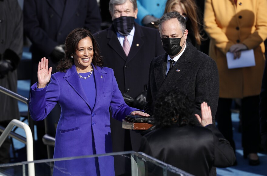 Supreme Court Justice Sonia Sotomayor administers the oath of office to Vice President-elect Kamala Harris.
