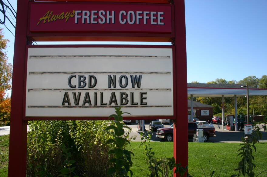 An advertisement for CBD at a gas station in Wilberforce