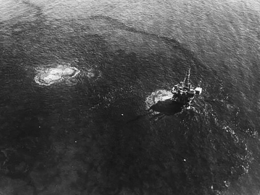 The oil slick visible around Platform A in the Santa Barbara Channel emanated from fissures in the seabed.