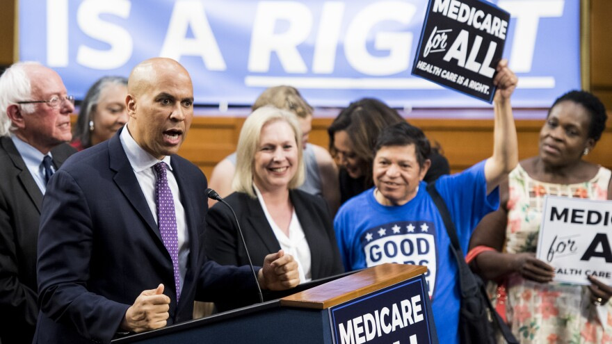 """Sens. Cory Booker and Kirsten Gillibrand are among the presidential candidates to back Sen. Bernie Sanders' """"Medicare-for-all"""" legislation, but even some Democrats who co-sponsored it have welcomed other policies."""